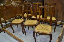 Set of six French Louis XV chairs in walnut fitted with drop in rush seats (6)