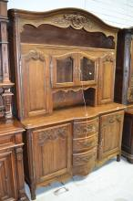 Vintage French carved oak Louis XV style two piece buffet, approx 230cm H x 168cm W x 57cm D