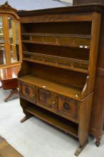 French Normandy region oak dresser open shelved top, two door base, approx 186cm H x 132cm W x 32cm D