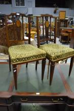 Pair of antique Edwardian inlaid side chairs (2)