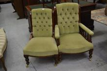Antique grandfather and grandmother chairs (2)
