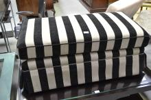 Modern new black and beige striped ottoman, approx 45cm H x 100cm W x 54cm D