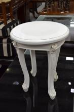 White painted Louis style stool, approx 44cm H x 36cm dia