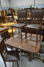 Set of six antique French Henri II chairs, studded embossed leather backs and seats (6)