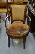 Vintage leather studded swivel desk arm chair