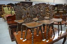 Six impressive antique French carved Renaissance style chairs 3 x 3