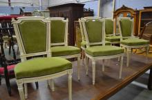 Set of six French Louis XVI chairs, cream painted frames (6)