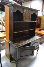 Vintage English period style oak two height dresser, approx 194cm H x 129cm W x 48cm D