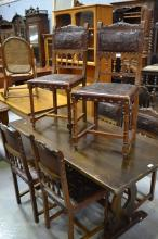 Set of six antique French Henri II chairs, studded impressed leather seats and backs (6)