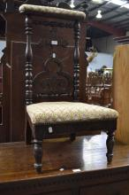 Antique French prayer chair, approx 87cm H