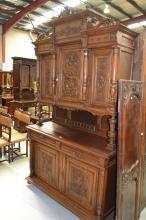Antique French Henri II Renaissance buffet, approx 258cm H x 150cm W x 51cm D