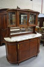 Vintage French Louis XVI buffet, marble topped with glazed display section above, gilt metal mounts, approx 224cm H x 170cm W x 55cm D