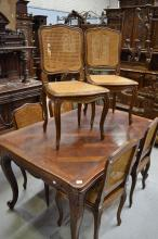 Set of six French Louis XV style oak chairs, caned backs and seats (6)