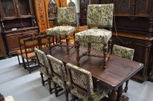 Set of eight antique French oak period style chairs (8)