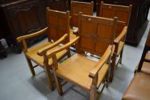 Set of four English pale oak Gothic Church arm chairs,  marked IHS  for Jesus in Greek (4)