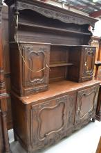 French Louis XV style two piece buffet, approx 224cm H x 180cm W x 57cm D