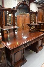 Impressive antique Victorian Mahogany twin pedestal mirrored back sideboard, approx 237cm H x 215cm W x 64.5cm D
