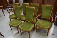 Set of six Louis style dining chairs, directiore style backs, green upholstery, set of four with two carvers (6)