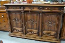 Large antique French Henri II walnut buffet with inset marble top, approx 130cm H x 199cm W x 72cm D