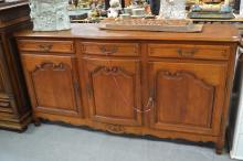Vintage Louis XV style oak parquetry top three door and three drawers enfilade, approx 105cm H x 199cm W x 56cm D