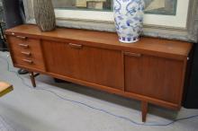 1960's French teak sideboard, approx 80cm H x 224cm W x 45cm D