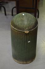 Green painted cylinder lidded Lloyd Loom laundry bin, approx 58cm H