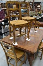 Set of six vintage French Louis XV style walnut chairs, with rush seats