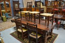 Eight antique English Lancashire spindle back country chairs (8)