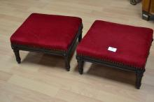 Pair of antique French Louis XVI style walnut stools, approx 18cm H x 34cm W x 29cm D (2)