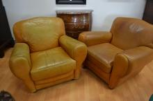 Pair of vintage French leather armchairs (2)