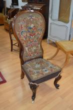 Antique high back Victorian nursing chair with original upholstery