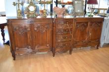 French Louis XV style four door & four drawer enfilade buffet, approx 264cm H x 100cm W x 60cm D