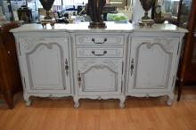 Vintage painted French Louis XV style enfilade buffet, approx 100cm H x 197cm W x 53cm D