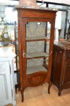 Antique French Louis XVI style vitrine, with floral marquetry inlaid panel to the door, marble top, approx 163cm H x 70cm W x 36cm D