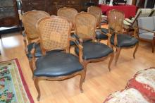 Set of six Louis XV style arm chairs with faux alligator skin leather upholstery (6)