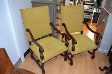 Pair of antique 19th century French period style high back armchairs