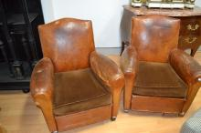 Pair of French Art Deco brown leather armchairs (2)
