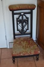 Ebonised prayer chair with needlework upholstery, approx 94cm H