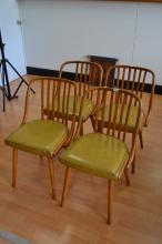 A set of four 1930s blonde bentwood chairs, stamped LINGNA CZECHOSLOVAKIA under seat, later upholstery