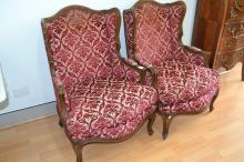 Pair of antique French carved walnut upholstered bergere arm chairs (2)