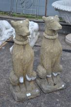 Pair of English composite stone entrance figures, approx 75cm H (2)