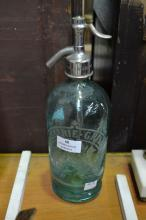 Vintage French teal glass soda siphon, approx 30cm H