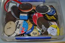 Collection of vintage badges, Political related, etc