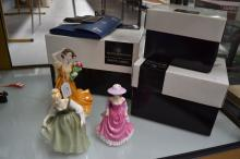 Royal Doulton, three figures, with boxes, (Michael Doulton signatures to bases) to include