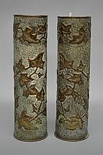 Pair French WWI trench art vases (2)