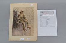 Tony Rafty OAM (Australian Official War Artist WW2). Superb watercolour portrait of Sergeant Robert William Hill of the 2/32 Aust. Inf. Battalion 1945, mounted on original card 43cm x 31cm. Signed and with a lengthy inscription by the artist. Sgt. Hill (NX6370) enlisted on 03.11.1939 and served until his discharge on 15.11.1945.