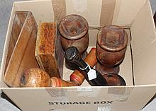 Assortment of poker work boxes, vases, etc along with two carved Asian dolls