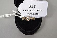 Three stone old rose cut diamond ring set in silver