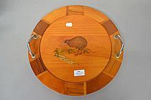 New Zealand specimen wood tray approx 37cm Dia