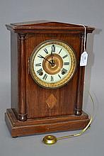 American Ansonia mantle clock, no key, has pendulum, approx 34cm H x 25cm W